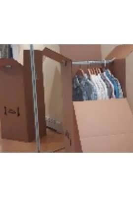 clothing in moving boxes